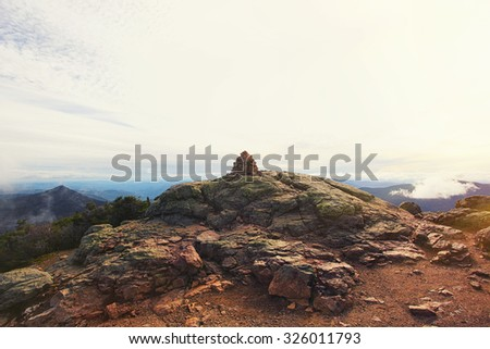 viewpoint at the top of the mountain in the woods of new hampshi - stock photo