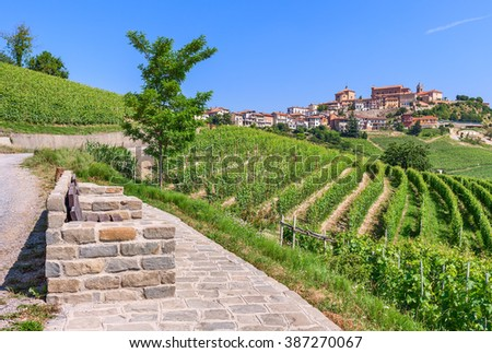 Viewpoint, green vineyards and small town on the hill under blue sky in Piedmont, Northern Italy. - stock photo