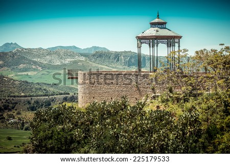 Viewpoint in Ronda. Malaga, Andalusia, Spain - stock photo