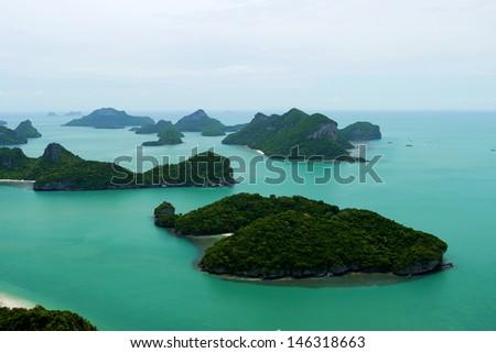 Viewpoint of Mu Ko Ang Thong Marine National Park , Samui Island ,Surathani , Thailand - stock photo