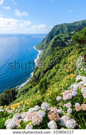 Viewpoint Ponta da Sossego in Sao Miguel, Azores island  - stock photo