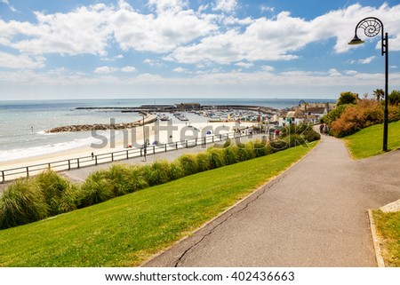 Views from Langmoor and Lister Gardens Lyme Regis Dorset England UK Europe - stock photo
