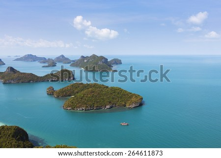 views from must visited place the landscape Ang Thong National Marine Park. Sleeping Cow Island, Three Pillars Island,  Ko Wua, Talap Buaboke Cave,  Ko Paluay - stock photo