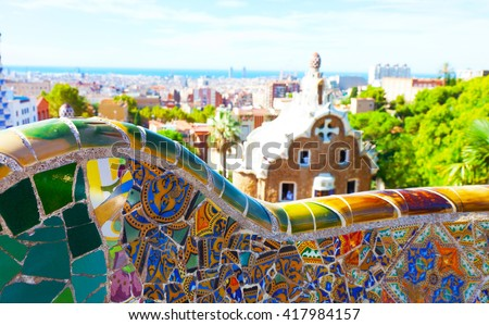 Views from the Park Guell designed by Antoni Gaudi, Barcelona, Spain - stock photo