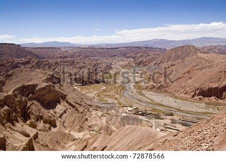 Views of a desert valley from Pukara de Quitor (Chile) - stock photo