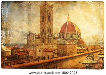 views of Florence in vintage style - stock photo