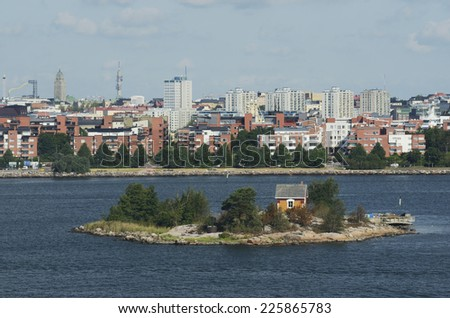 views of Helsinki from the Baltic Sea, horizontal - stock photo