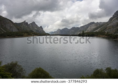 Views of Lago del Valle, in Somiedo Nature Reserve. It is located in the central area of the Cantabrian Mountains in the Principality of Asturias in northern Spain - stock photo