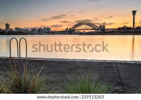 Views of Sydney Harbour Bridge and North Sydney, from Balmain - stock photo