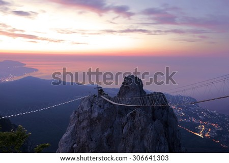 Views of the Crimea with the top of the mountain early in the morning - stock photo