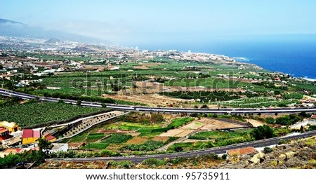 Views of the valley of Orotava in Tenerife, Canary Islands Spain - stock photo