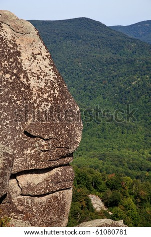 Views over valley in the Shenandoah on a climb of Old Rag - stock photo