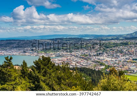 Views towards the city from the lookout at the Centennial Memorial on Signal Hill Dunedin Otago South Island New Zealand - stock photo