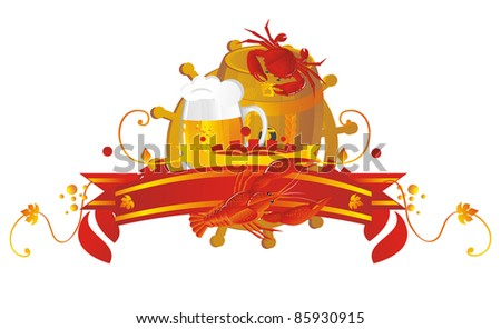Vignette beer with a keg, beer mug, crawfish and crab - stock photo