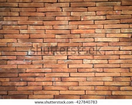 Vignette tone vintage brick wall background texture - stock photo