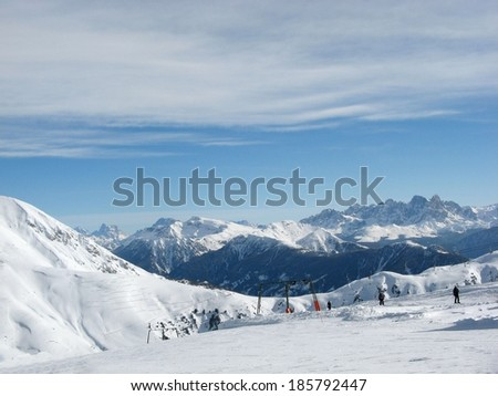 vigo di fassa a very beautiful place in italy - stock photo