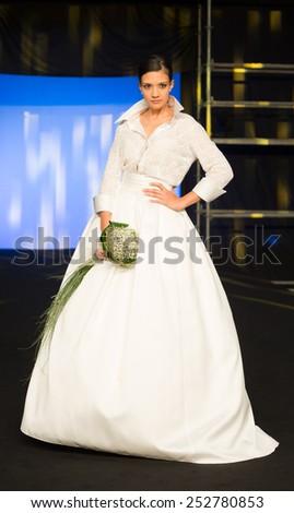 Vigo 22 November 2014 - Wedding Models catwalk during the Vigo Bodas on November 22, 2014 in Vigo, Spain. - stock photo