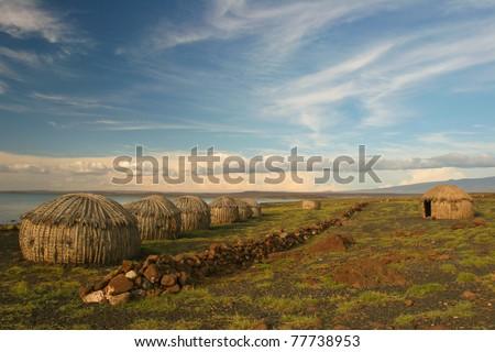 Viiew of Turkana Village, Kenya - stock photo