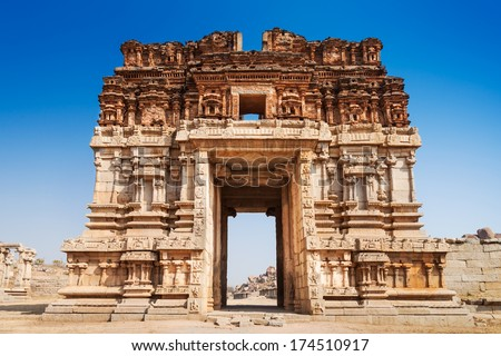 Vijayanagara hindu temple and ruins, Hampi, India - stock photo