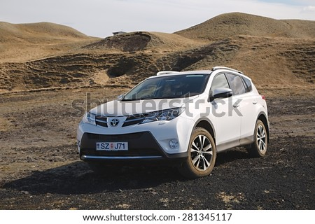 VIK, ICELAND - MAY 08, 2015. Toyota RAV4 four wheel drive SUV being used on Iceland's unpaved roads and terrain. - stock photo