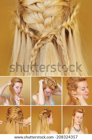Viking braided hairdo tutorial - stock photo
