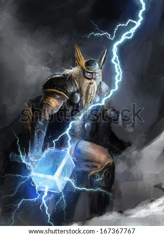 viking god of lightning thor - stock photo