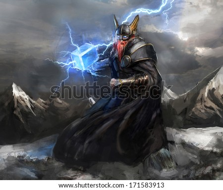 viking god of lightning thor - stock photo