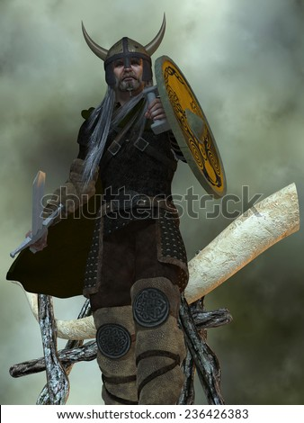 Viking Man - The Viking civilization were a seafaring people from Northern Europe who colonized such places as Greenland, Iceland and Eastern Canada. - stock photo