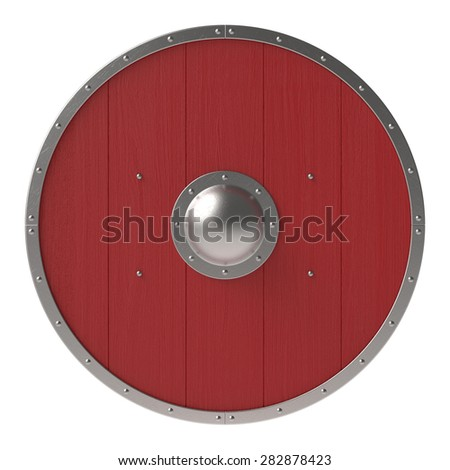 Viking red shield - stock photo