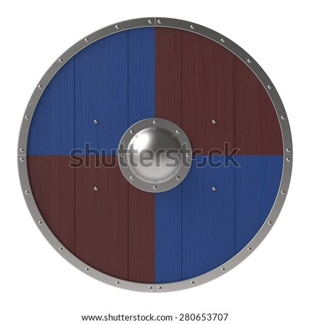 Viking shield with brown-blue checker pattern - stock photo