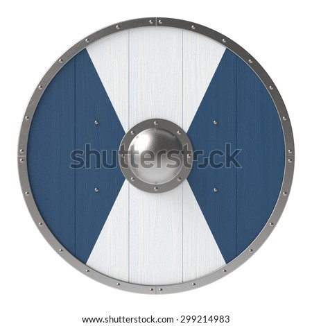 Viking shield with white-blue pattern - stock photo