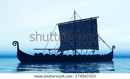 Viking ship at dawn Computer generated 3D illustration - stock photo