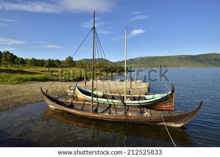 Viking ship in Lofoten Islads, Norway - stock photo