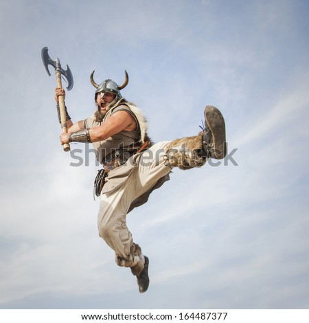 Vikings attack from sky - stock photo