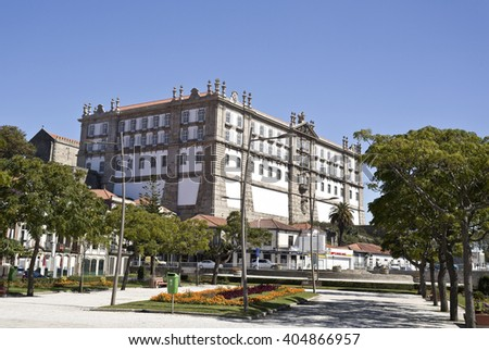 VILA DO CONDE, PORTUGAL - September 20, 2015: The Monastery of Santa Clara, seen from the Republic Square on September 20, 2015 in Vila do Conde, Portugal - stock photo