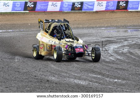 VILKYCIAI,LITHUANIA-JULY 11:rider OLIVER SOLBERG overcomes the track in the Rallycross Challenge Europe and NEZ Crosskart Championship 2015 on July 11,2015 in Vilkyciai,Lithuania. - stock photo