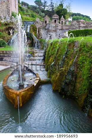 Villa d`Este fountain and garden , Tivoli, Italy. - stock photo