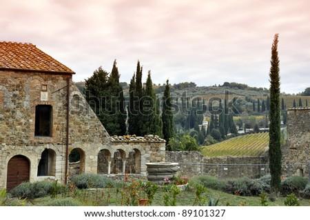 Villa in Tuscany lanscape - stock photo