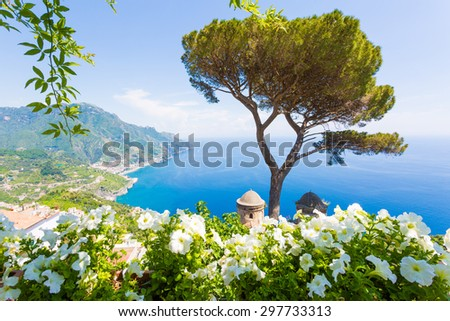Villa Rufolo, Amalfi Coast, Ravello, Italy. Panoramic view from the flower terrace - stock photo