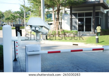 Villa surveillance camera or cctv stand on entrance and exit for security - stock photo