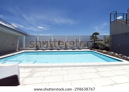 Villa with swimming pool-5 - stock photo