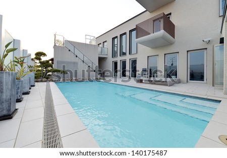 Villa with swimming pool and relaxation bed-6 - stock photo