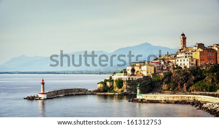 village bastia at corsica - france - stock photo