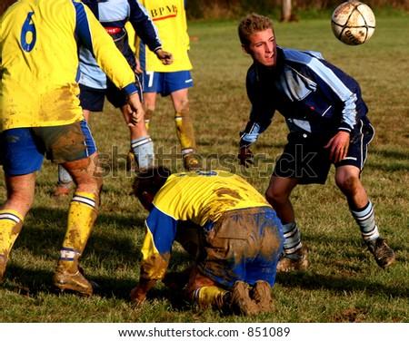 Village football match, Sussex, England - stock photo