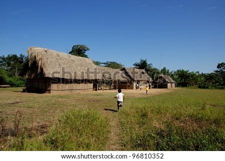Village in amazon basin, Bolivia - stock photo