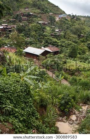 Village in Chin State Mountainous Region, Myanmar (Burma) - stock photo