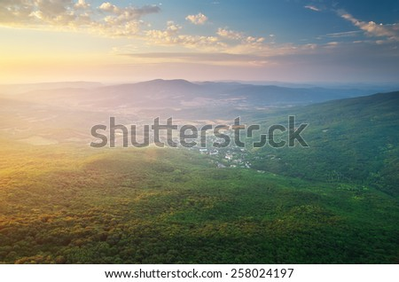Village in mountain. Nature composition. - stock photo