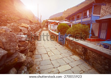 Village in  Nepal. Hamalayas mountains. Trek around Annapurna mount - stock photo
