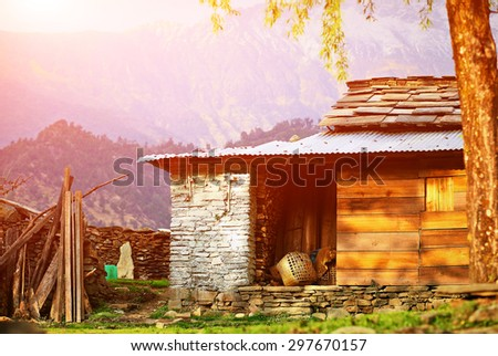Village in  Nepal. Himalayas mountains. Trek around Annapurna mount - stock photo
