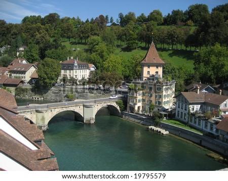village in swiss - stock photo